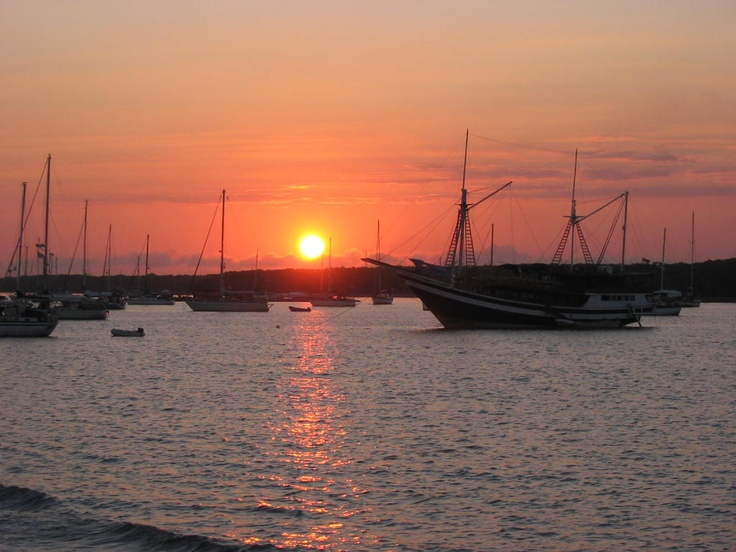 Sunset at Benoa Harbour, Bali.