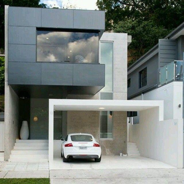 Dise o de fachadas con juego de vol menes desfasados for Viviendas minimalistas