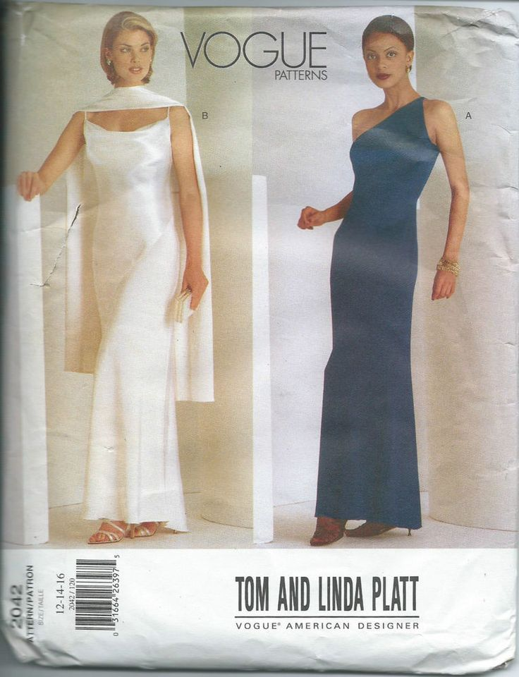 Vogue Pattern 2042 Tom and Linda Platt Evening Wedding Dress Sizes 12 14 16 NEW #VoguePatterns #EveningFormalWedding