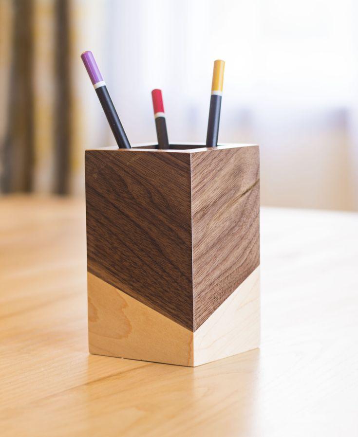 Pencil Holder Wood – Desk Accessories | TRUCS & ASTUCES ...