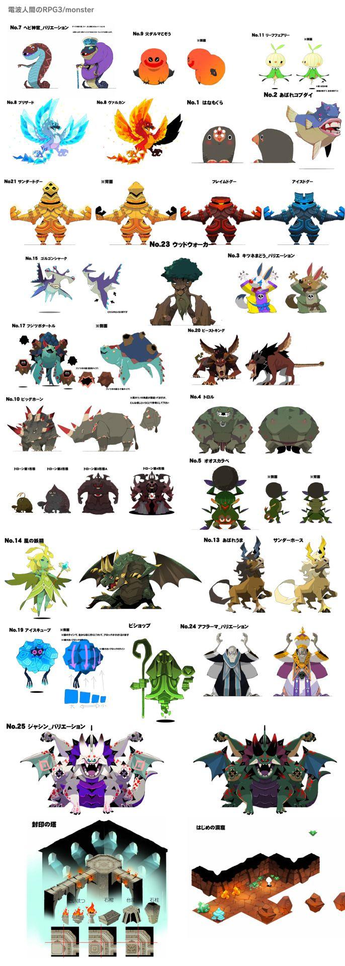 電波人間のRPG3のモンスターとダンジョンデザインを少し。 あばれコブダイ…、名前もそのまま採用していただいて嬉しかったですね。