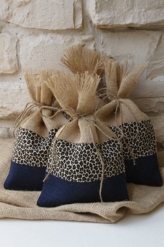 Burlap Gift Bags, Burlap, Cheetah and Denim Gift Bags, Shabby Chic Wedding, All Occasion Gift Wrapping, Black, Blue and Natural, Set of Four