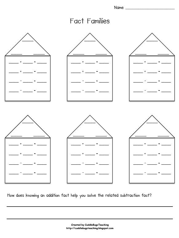 Kindergarten First Grade And Second Students Will Create Their Own Fact Families Diffeiation Can Be The Difficulty