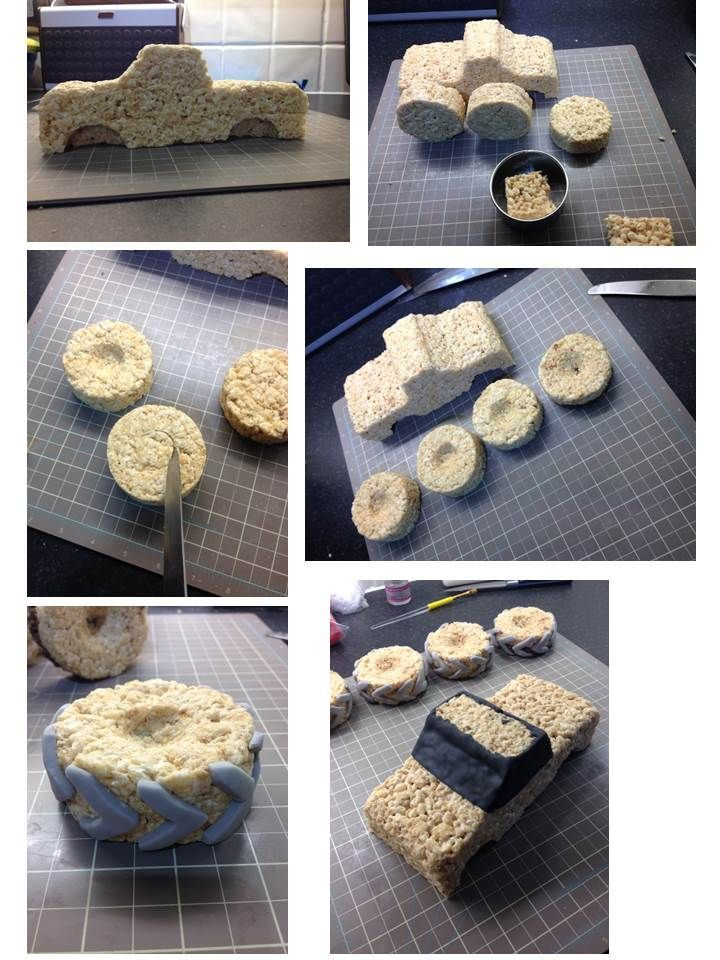 Monster truck cake instructions - how to make a monster truck and tyres from Rice Krispies Squares and sugar paste / fondant! 2 of 6
