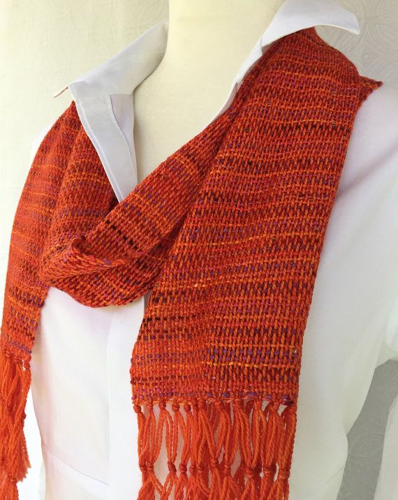 Orange Hand Woven Scarf - Woven Scarf - Wool Scarf - Silk Scarf - Orange Scarf - Red Scarf - Womens Scarf - Christmas Gift - Gift for Her