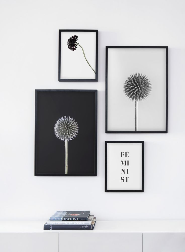 This Cool Black And White Gallery Wall Is Made Of Modern Botanical