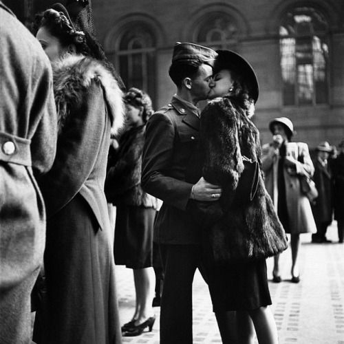 LIFE is celebrating International Kissing Day with images of some of the most memorable kisses in the archive. Check out the gallery on LIFE.com and Instagram story for more great images. Pictured here is a couple in Penn Station sharing a farewell kiss before he ships off to war during WWII. 1943. (Alfred Eisenstaedt—The LIFE Picture Collection/Getty Images) #InternationalKissingDay