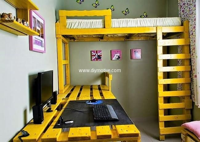 pallets study desk and bunk bed