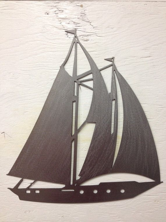 Metal Sailboat Silhouette Wall Hanging 15 x by MarriedToTheMetal