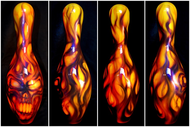 Custom airbrushed bowling pin. www.hardartkustoms.com