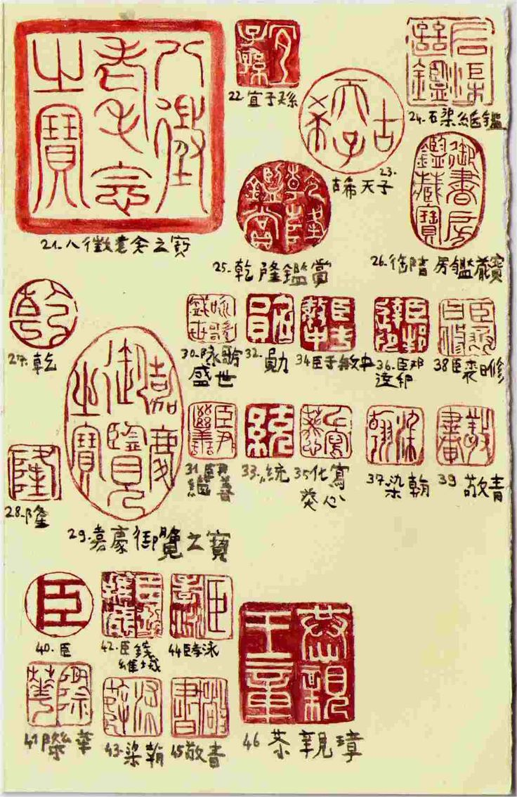 """Study of orginal seals from """"The scroll of the nine dragons"""" by 陈容 Chén Róng (1210 – 1261)"""