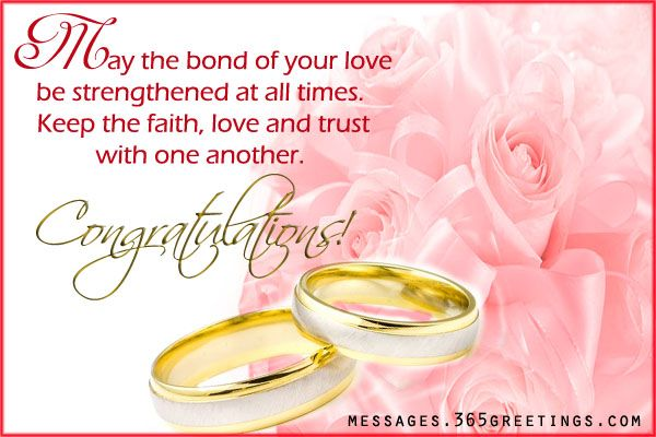 Congratulations and best wishes for a long and happy life together.