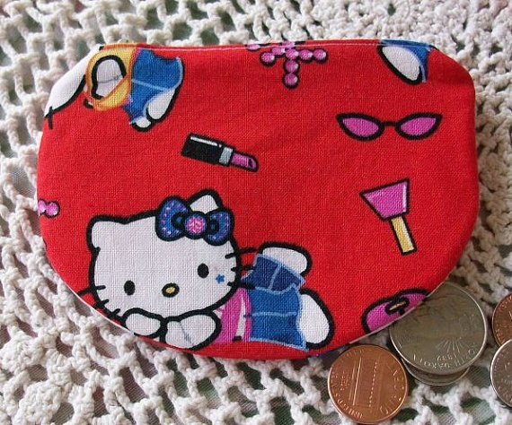 Hello Kitty Zippered Change Pouch by Arelel Designs on Etsy, $5.00