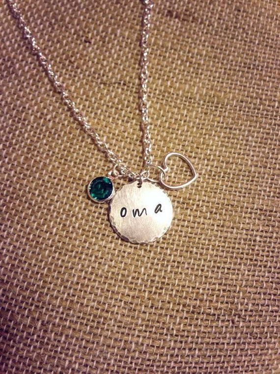 Oma Grandma Necklace Personalized Hand Stamped by BlansetCreations, $35.00