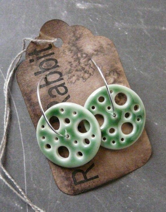 Hand built, circular pendant, earrings
