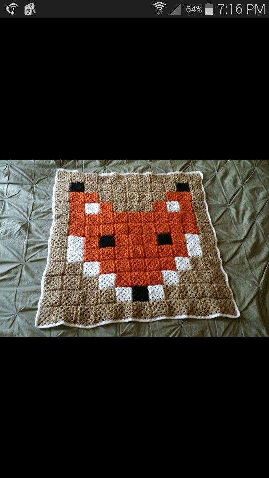 Crochet granny square fox blanket