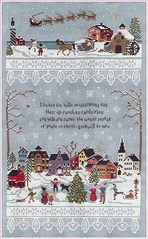 Christmas Village - Cross Stitch Pattern I Heard the Bells on Christmas Day I LOVE this, but it's $10 for just the pattern.