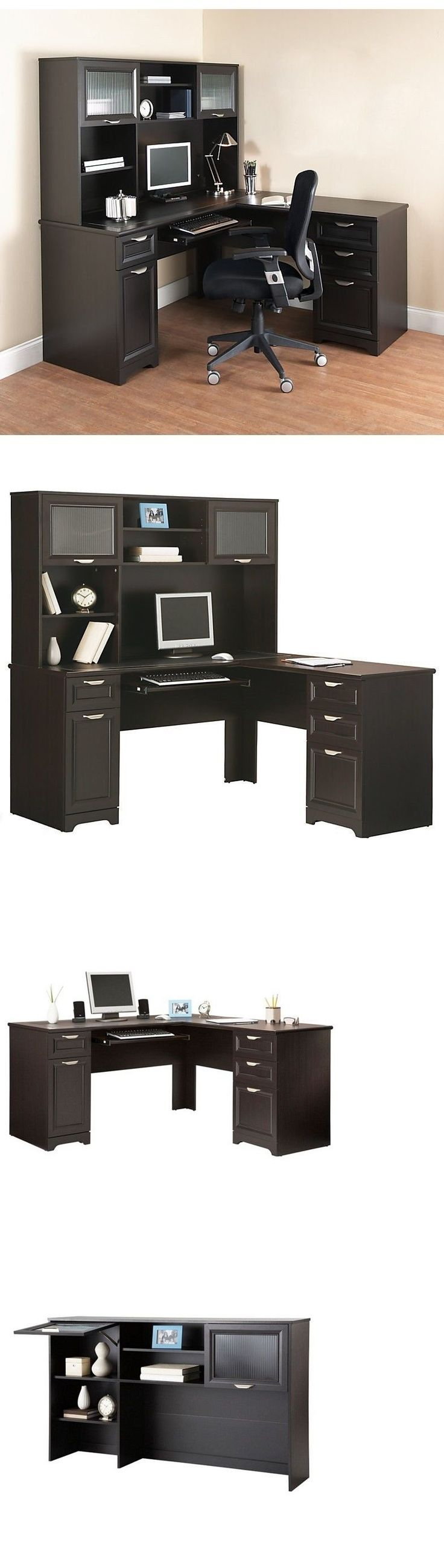 Office Furniture: New L-Shaped Office Desk With Hutch Computer Executive Corner Table Furniture Bk BUY IT NOW ONLY: $519.19