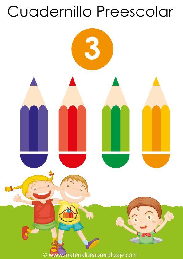 Cuadernillo preescolar 3, con 19 fichas de grafomotricidad para niños a partir de los 2 y 3 años.
