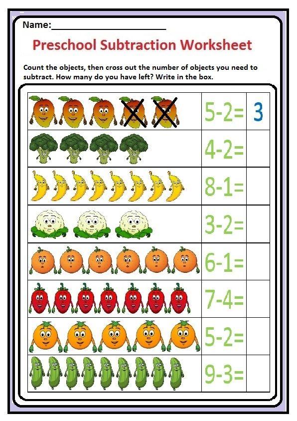 Subtraction Worksheet For Preschool And Kindergarten Preschool And Kindergarten Subtraction Worksheets Preschool Math Worksheets Kindergarten Addition Worksheets Subtraction with pictures worksheets