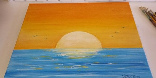 How To Paint A Sunset – Acrylic Seascape Painting Lesson | My ...