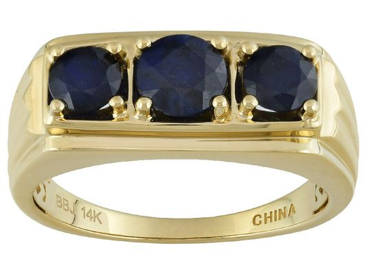 2.20ctw Round Blue Sapphire 14k Yellow Gold 3-stone Gents Ring