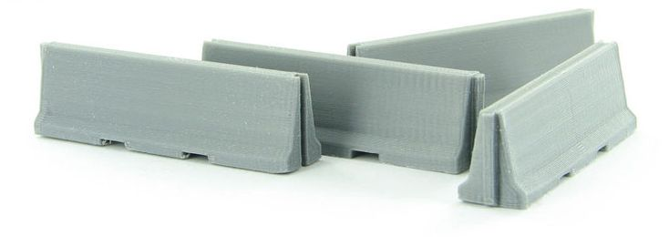 Jersey Barriers - 4-Pack - ABS Plastic - Gray