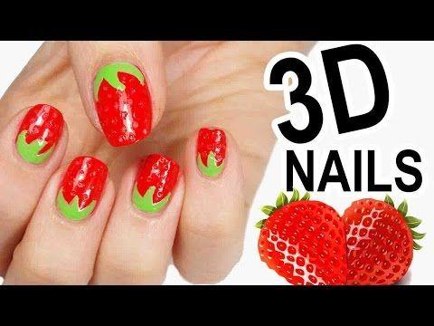 nail art fragola - effetto 3d