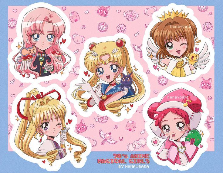 90s Magical Girls Sticker Sheet (Weight 15g) hanavbara