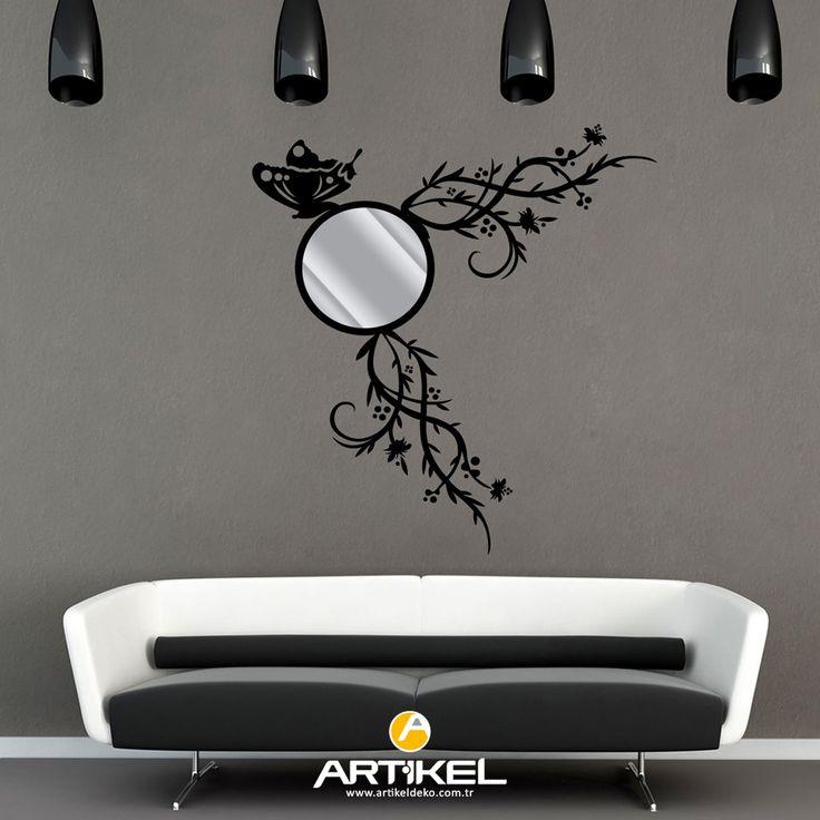 Evinizin dekorundan sıkıldıysanız, sade ve şık bir ayna sayesinde farklı bir dekor oluşturabilirsiniz... #dekoratifayna #aynasticker