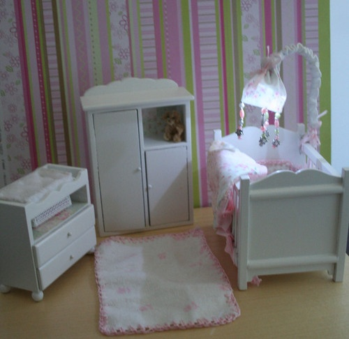 OOAK Baby Doll Nursery Armoire Changing Table Crib W Light 1 12 Dollhouse |  EBay