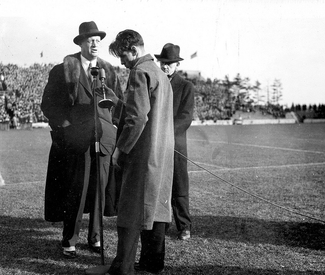 Coaches Macklin and Shaw address a crowd by Michigan State University Archives, via Flickr