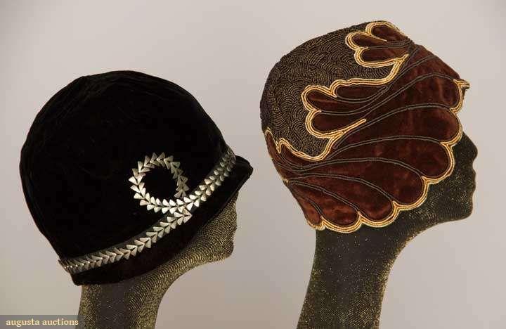 TWO VELVET CLOCHES, 1920s  1 black w/ metal band & 1 half velvet & half corded