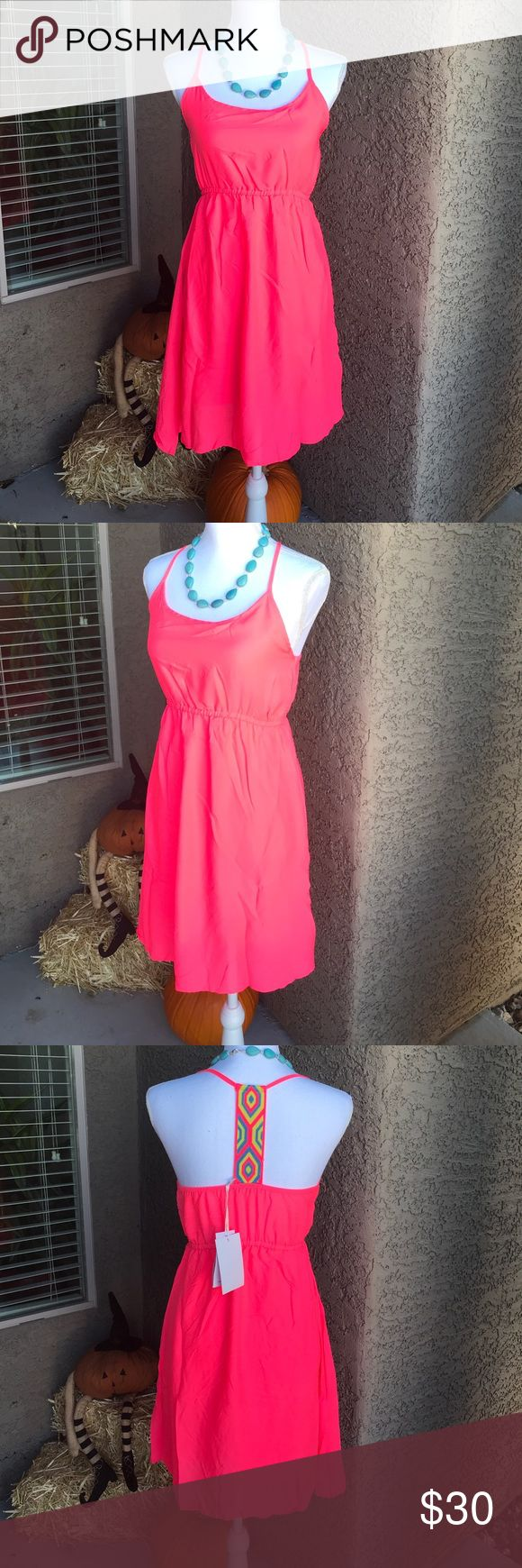 Macy's pink sleeveless dress size S knee length Brand new. Size small women's. Hot pink neon pink dress. Lined with a pink material so you can't see through it. Sleeveless with a beautiful handcrafted back designs that wraps around to the front. Puffy around chest area. Knee length. Originally $50.00 • FEEL FREE TO MAKE OFFERS• Macy's Dresses Midi