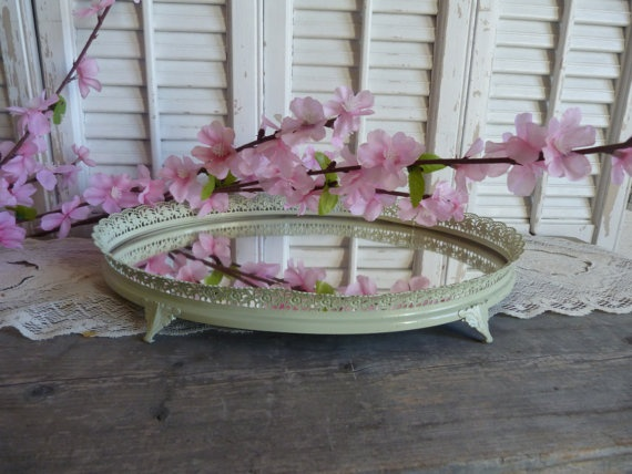 Shabby Chic Sage Green Mirror Jewelry Key by RusticPrairieCottage, $19.99