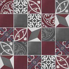 artisan tile Bristol Charcoal / Oxblood