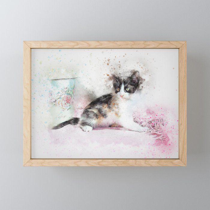 Cute Cat 4 Framed Mini Art Print Cat Cute Animal Pet Kitten Kitty Happy Feline Funny Adorabl Car Illustration Cute Cars Christian Car Decals