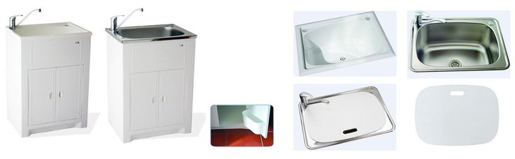 Solo Laundry unit 45L White Polymer Cabinet & White Polymer Tub and door caddy for extra storage, *Solo Laundry unit 45L White Polymer Cabinet & Stainless Steel Tub and door caddy for extra storage, King Laundry unit 70L White Polymer Cabinet & White Polymer Tub, 45L White Polymer Inset Tub, *45L Stainless Steel Inset Tub with bonus Polymer Lid, *NEW LAUNDRY LID to fit 45L Stainless Steel Tub, from Bathrooms and Kitchens Builders Express Underwood, website www.bathroomsnkitchens.com.au