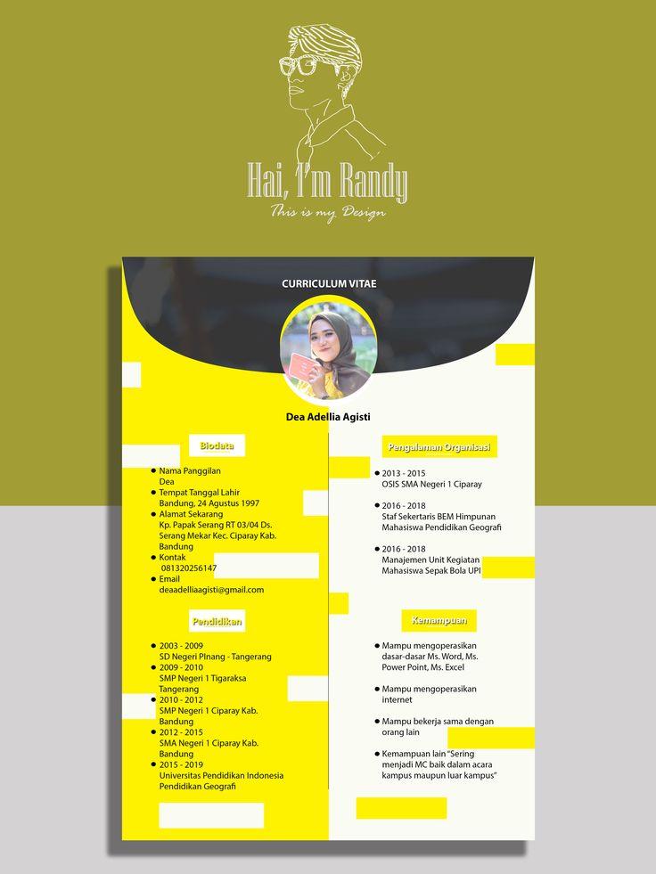 Curriculum Vitae Design By Me 2 Mahasiswa Tanggal