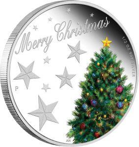 Счастливого Рождества! 1/2 унции серебряная монета в футляре 50 центов Австралия 2013 Монетный двор г.Перт (Австралия) Цена от 550 грн. Превосходный подарок на Новый Год