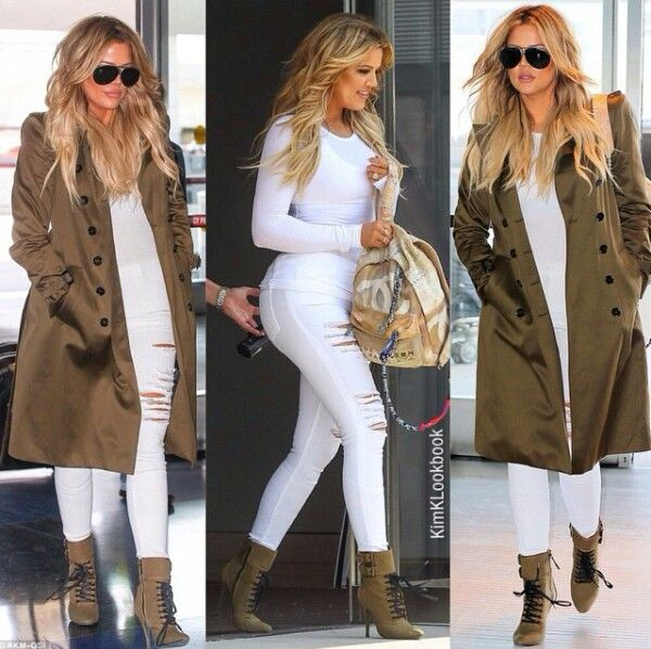 Khloe kardashia  flawless jet set style trench coat, boots, chanel backpack, airport look