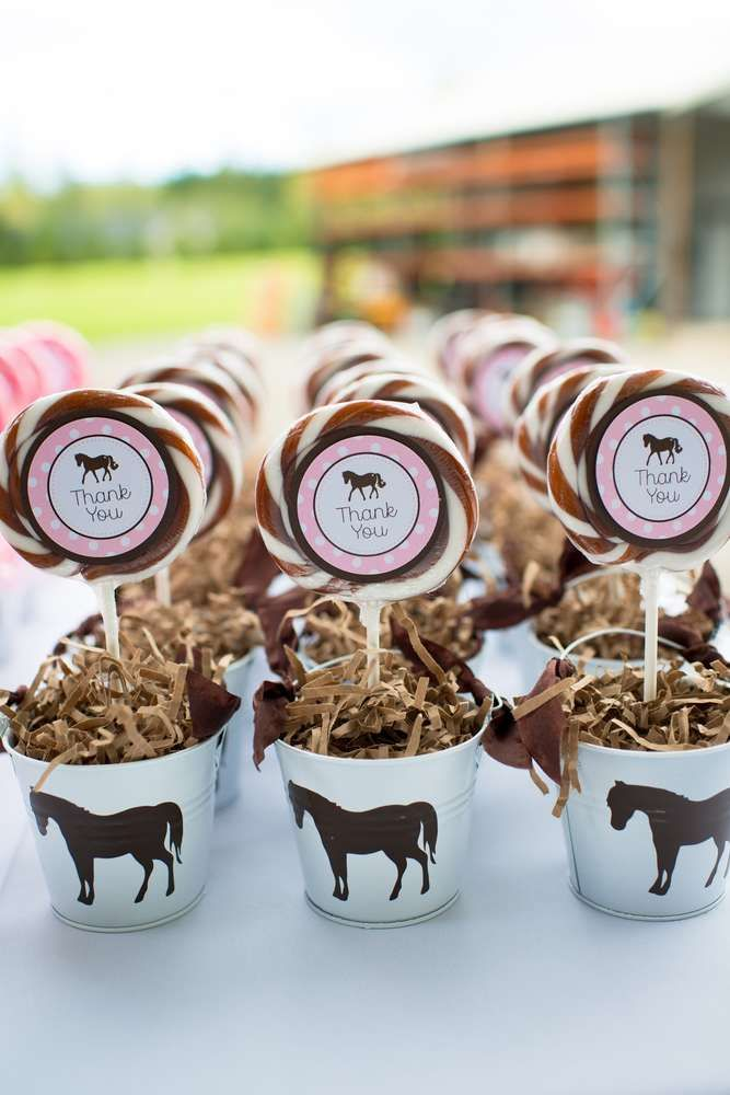 Fun lollipop favors at a pony birthday party! See more party ideas at CatchMyParty.com!