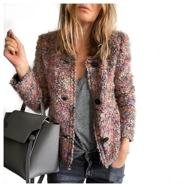 Boucle jacket, grey tee and skinny jeans