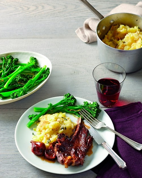 ... Smashed Parsnips and Potatoes with Thyme, Broccolini with Lemon, and