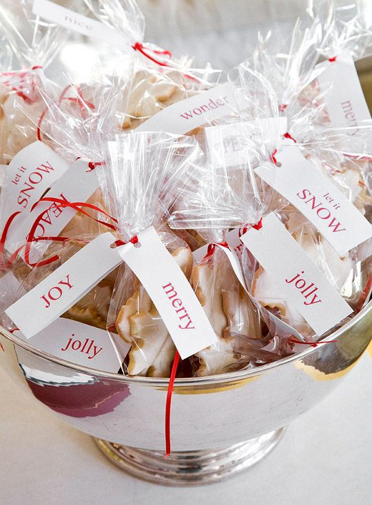 Cookie Favors in a Silver Bowl