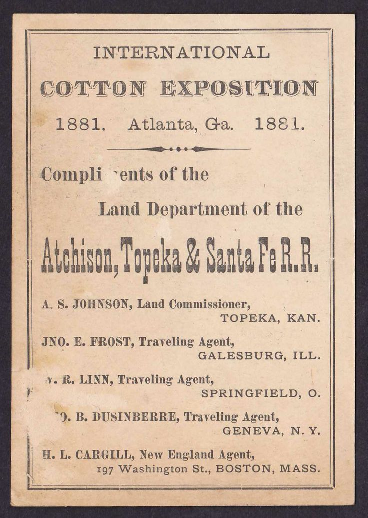 1881 INTERNATIONAL COTTON EXPOSITION  ATLANTA, GA TRADE CARD OF THE LAND DEPARTMENT OF THE ATCHISON, TOPEKA & SANTA FE R.R.