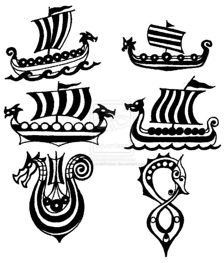 Drakkar viking ship small tattoo flashes by for Tattoo shops arnold mo