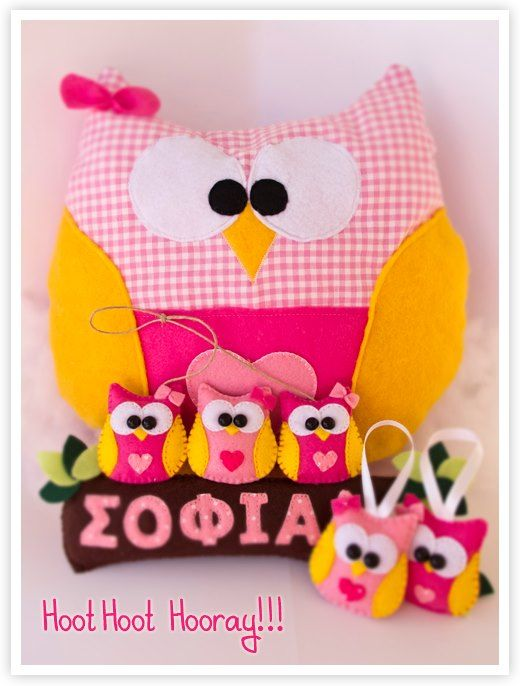 owls with fabric and felt