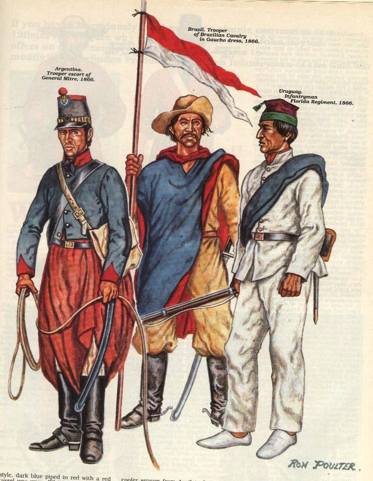 The War of the Triple Alliance; Agentina, Escort of General Mitre, Trooper 1866. Brazil, Cavalryman in Goucho attire,