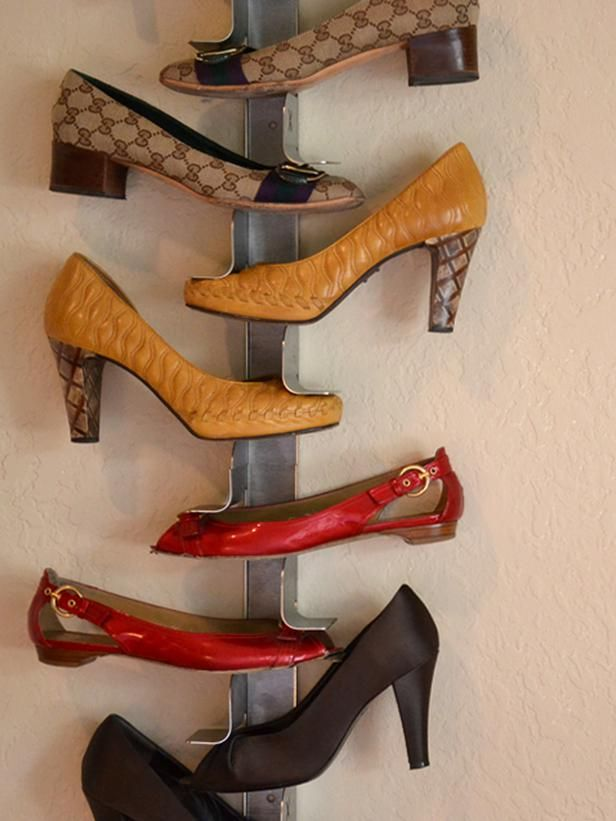 Shrine Shoe Rack designed by Fernando Robert can display shoes against the wall without taking up valuable floor space